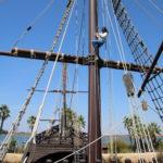 Huelva (E) – Nachbildungen der Schiffe La Pinta, La Niña und La Santa María mit denen Christoph Kolumbus Amerika entdeckte